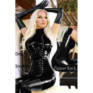 Leather club dress lace-up. Артикул: IXI22007