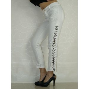 Stylish pants. White lace-up