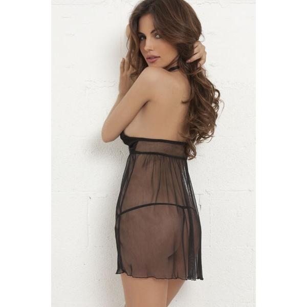 Stylish black translucent negligee. Артикул: IXI22339
