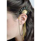 Earring hooks Sunflower with black stones