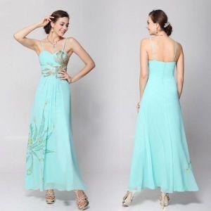 Голубое шифоновое длинное платье - Вечерние платья