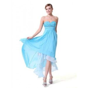 Blue chiffon strapless dress