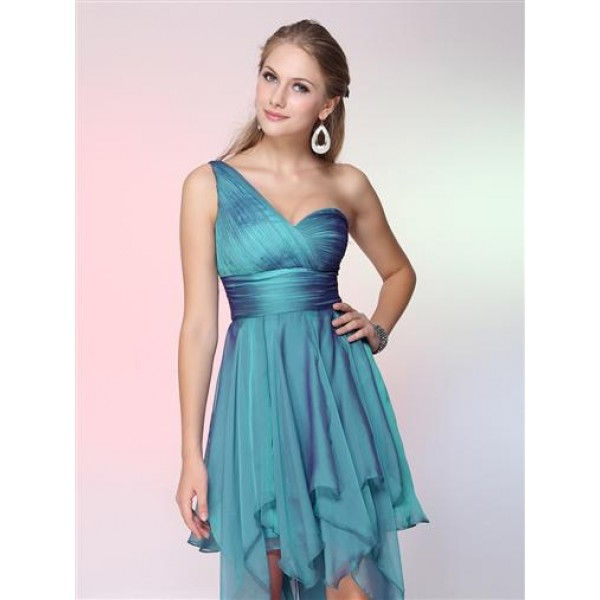 SALE! Blue cocktail dress one shoulder. Артикул: IXI23170