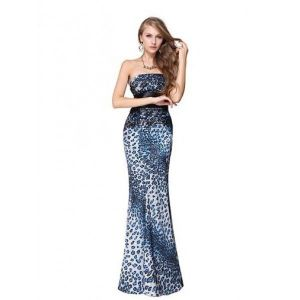 Evening dress blue color with leopard print. Артикул: IXI23171