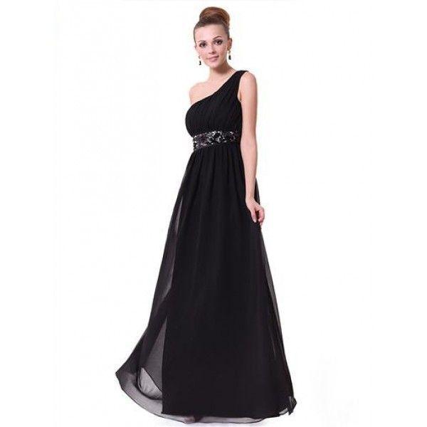 Черное шифоновое платье на одно плече