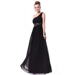 Black chiffon dress one shoulder