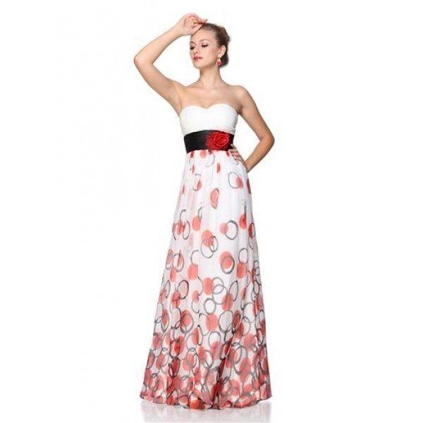 Платье без бретель с красной розой
