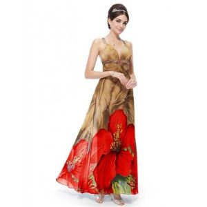 Gorgeous beige dress with red flowers. Артикул: IXI23435