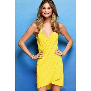 Стильная туника желтого цвета - Пляжная одежда