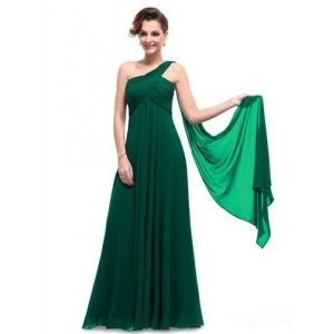 Rough green dress one shoulder