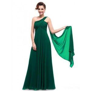 Rough green dress one shoulder. Артикул: IXI23522