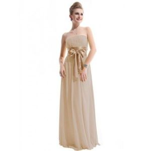 SALE! Beige evening dress without straps