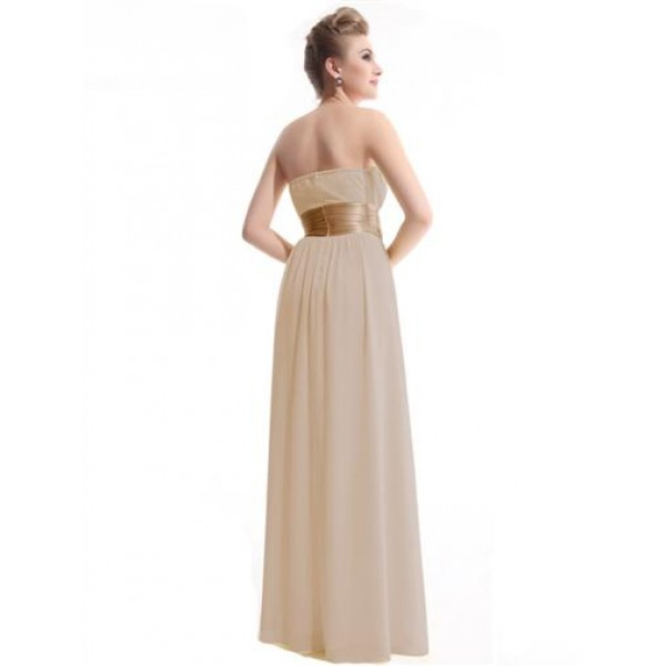 SALE! Beige evening dress without straps. Артикул: IXI23529