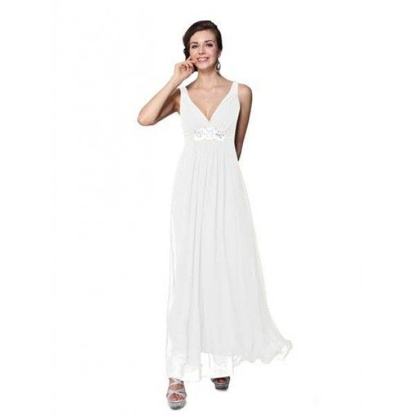 Элегантное белое платье с мерцающими стразами