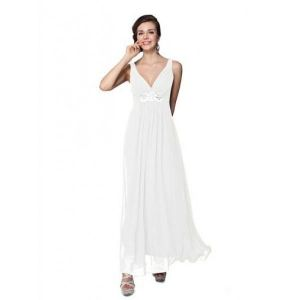 Elegant white dress with shimmering rhinestones