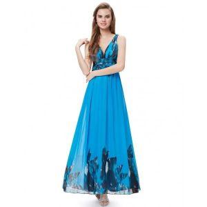 РАСПРОДАЖА! Платье с V-образным вырезом на спине голубое