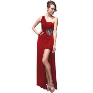 SALE! Dress one shoulder with original brooch red