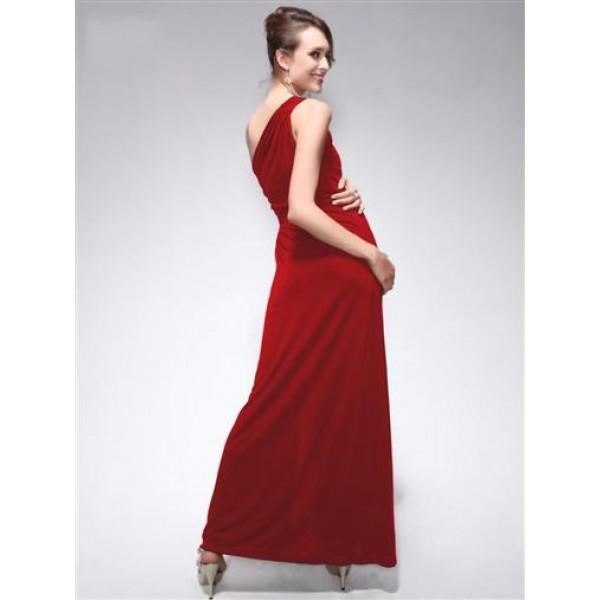 SALE! Dress one shoulder with original brooch red. Артикул: IXI23700