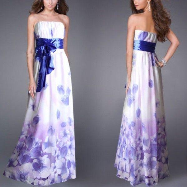 Платье без бретель с бантом на поясе