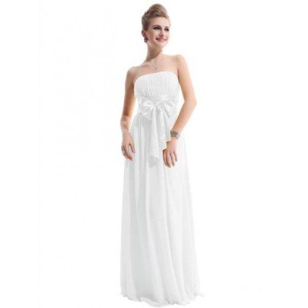Очаровательное платье без бретель с бантом белое