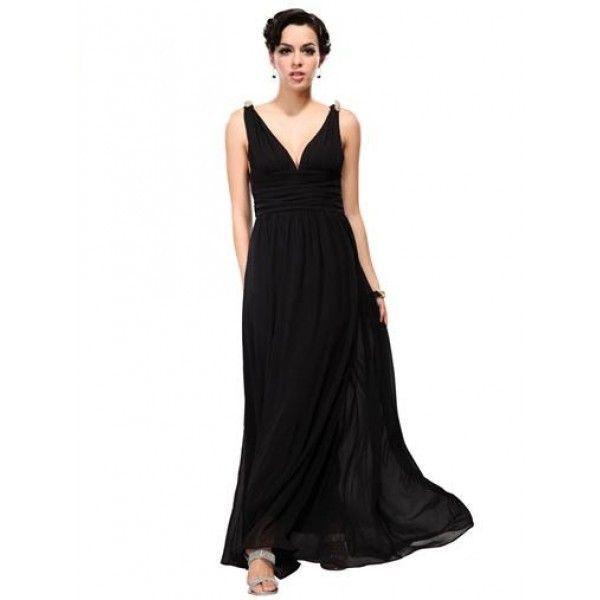 Вечернее платье с завышенной талией черное