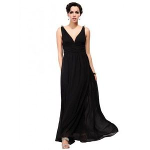 Evening dress with high waist black