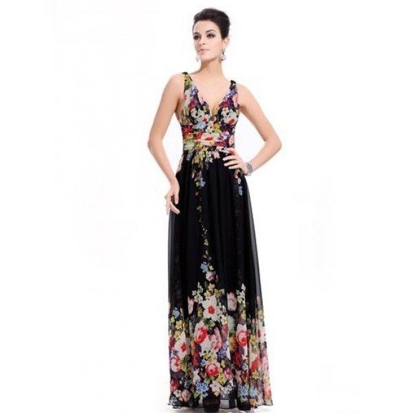 Черное платье с ярким принтом