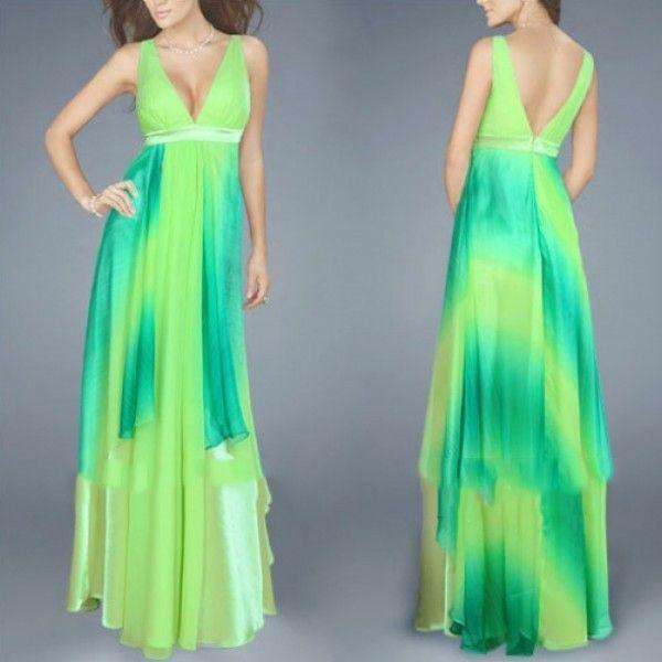 Салатовое платье с переливами