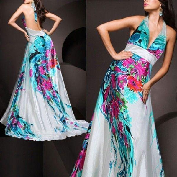 Красочное платье с открытой спиной