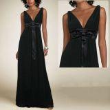 РАСПРОДАЖА! Черное платье с бантом на поясе по оптовой цене