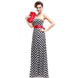 РАСПРОДАЖА! Платье в горошек с красным бантом - Вечерние платья