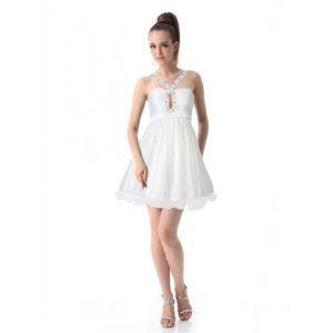 РАСПРОДАЖА! Двухслойное платье с мерцающими пайетками белое - Вечерние платья