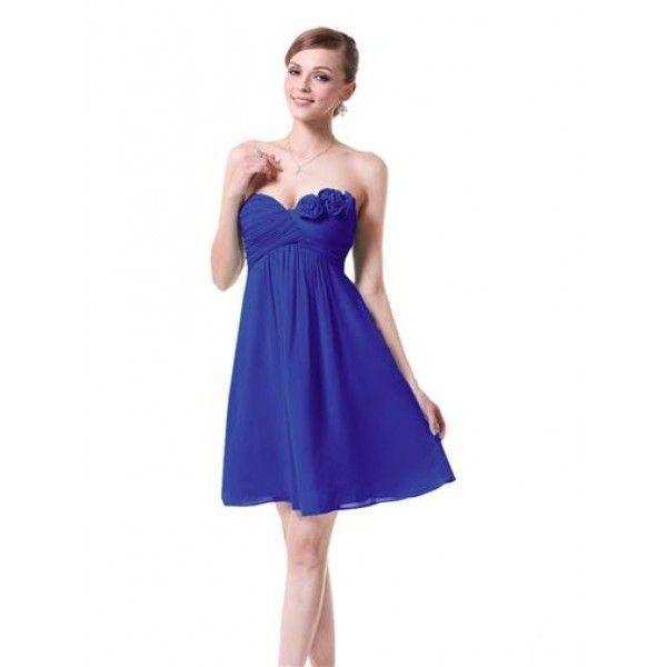 Платье без бретель с розочками