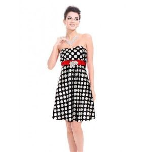 Polka dot dress with red sash