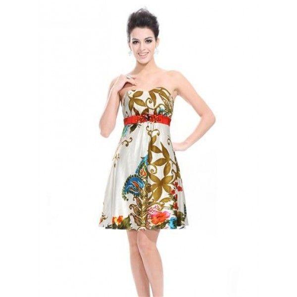 Платье без бретель с цветочным принтом