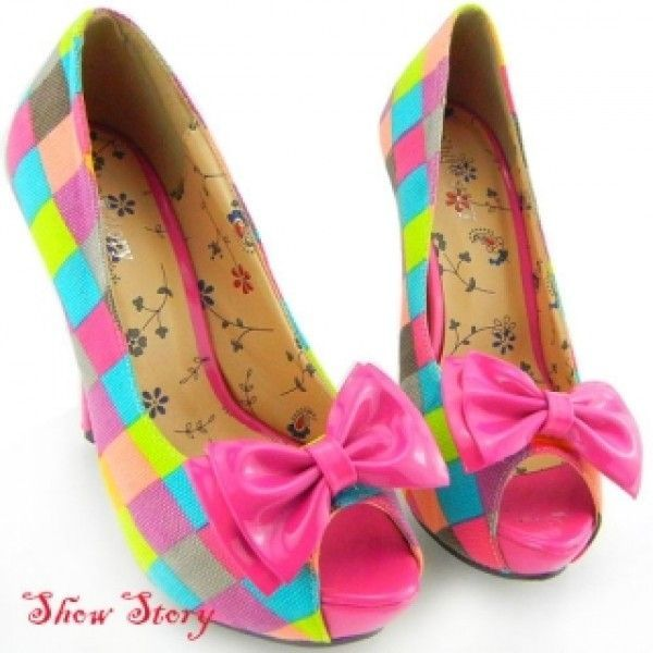 SALE! Bright colored shoes with open toe and bow