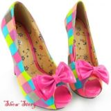 РАСПРОДАЖА! Цветные яркие туфельки с открытым носком и бантиком по оптовой цене