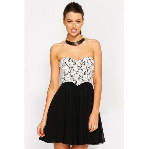 Sexy black and white dress. Артикул: IXI24512