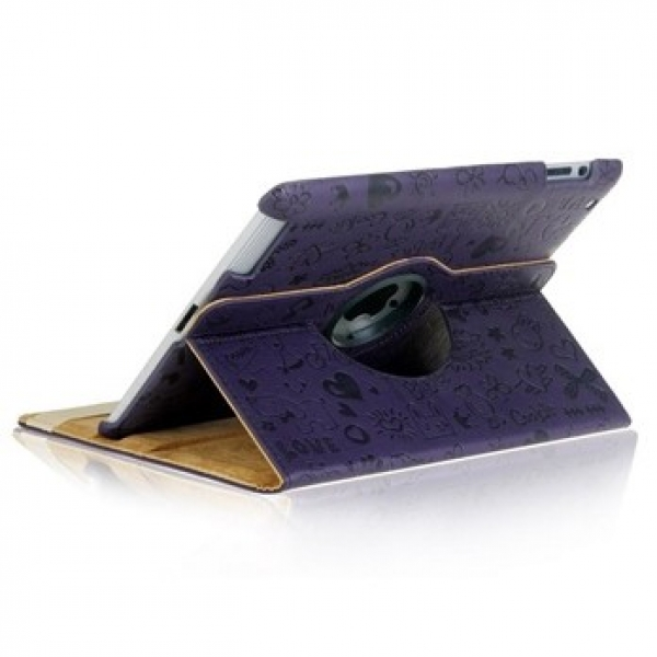 РАСПРОДАЖА! Rotatable PU Leather Protective Case for iPad 2 (Purple)