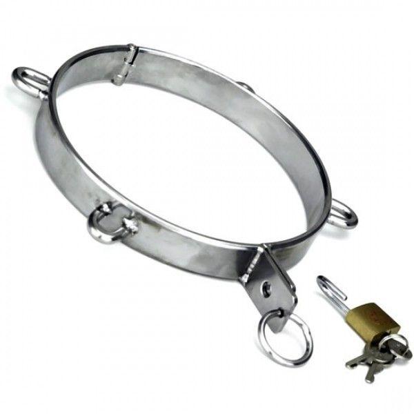 BDSM (БДСМ) - Ошейник из нержавеющей стали с D-образными кольцами