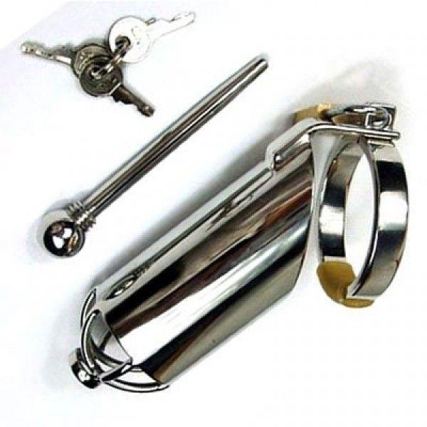 Мужской пояс верности с уретральной растяжкой для пениса ZA002
