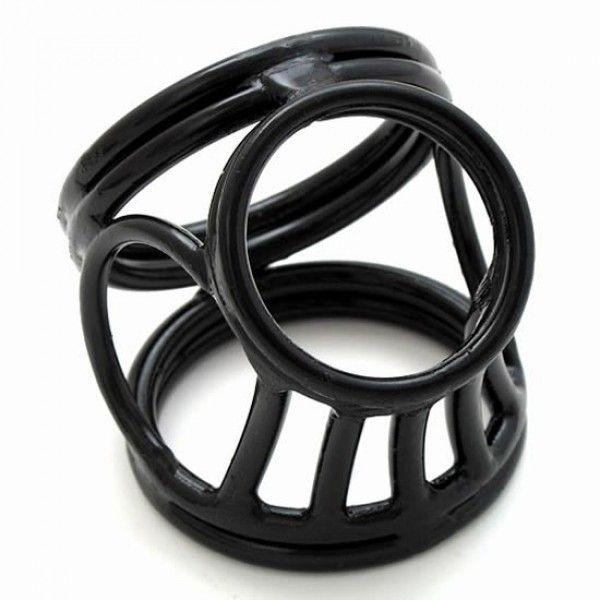 BDSM (БДСМ) - Черное тройное кольцо фиксатор на пенис