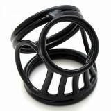 БДСМ - Черное тройное кольцо фиксатор на пенис