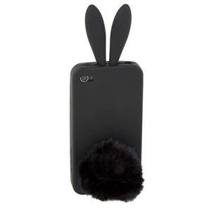 РАСПРОДАЖА! Latest Style 2 in 1 Rabbit Ears Silicone Case with Rabbit Tail Stand for iPhone 4G (Black)