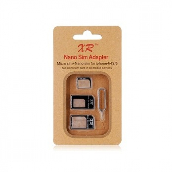 Nano SIM Four-in-One Kit for iPhone 4 & 4S iphone 5 (Black)