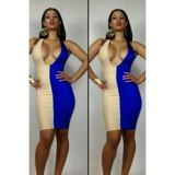 Beige and blue dress