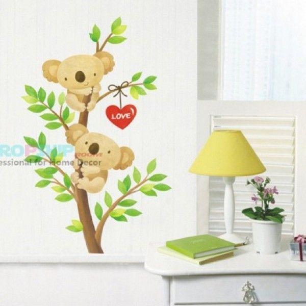 Виниловая наклейка - Влюбленные мишки на дереве