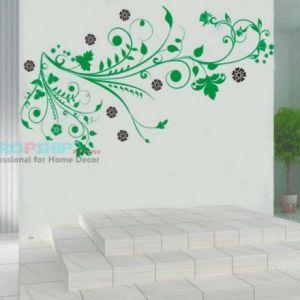РАСПРОДАЖА! Виниловая наклейка - Зеленые завитушки - Интерьер, декор
