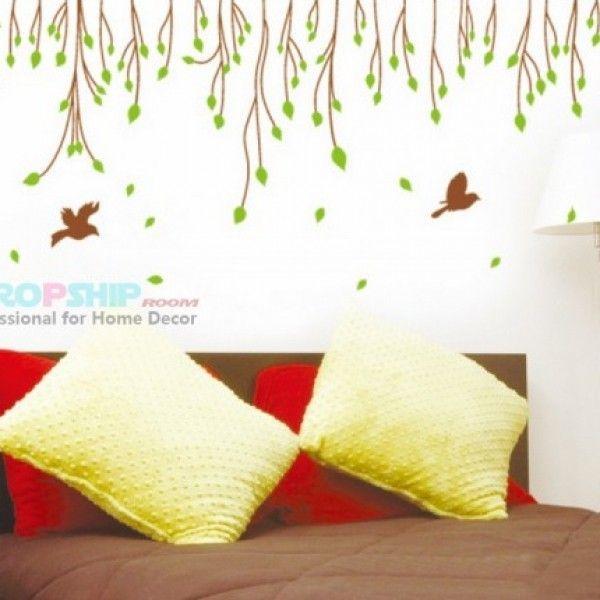 Виниловая наклейка - Листья и птички