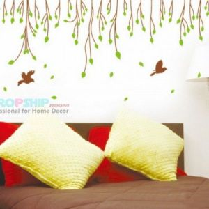 РАСПРОДАЖА! Виниловая наклейка - Листья и птички - Интерьер, декор